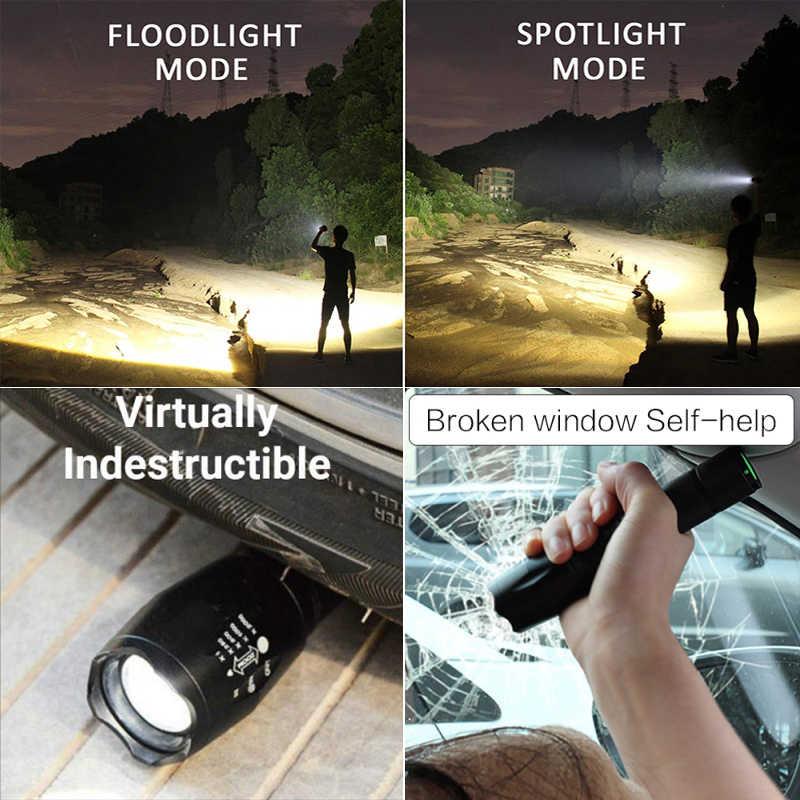 Led el feneri Ultra parlak torch T6/L2/V6 kamp ışık 5 anahtarı modu su geçirmez zumlanabilir bisiklet ışığı 18650 pil kullanın