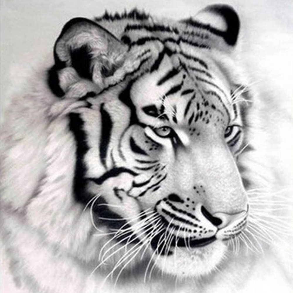 Cross Stitch Kit Black and white Tiger Animal Square Diamond Paintings Image DIY 5D Christmas Decorations Embroidery Crystals