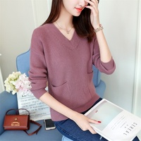 43 han edition in the fall of the new Ladies knitted pullovers F1953 v-neck pockets