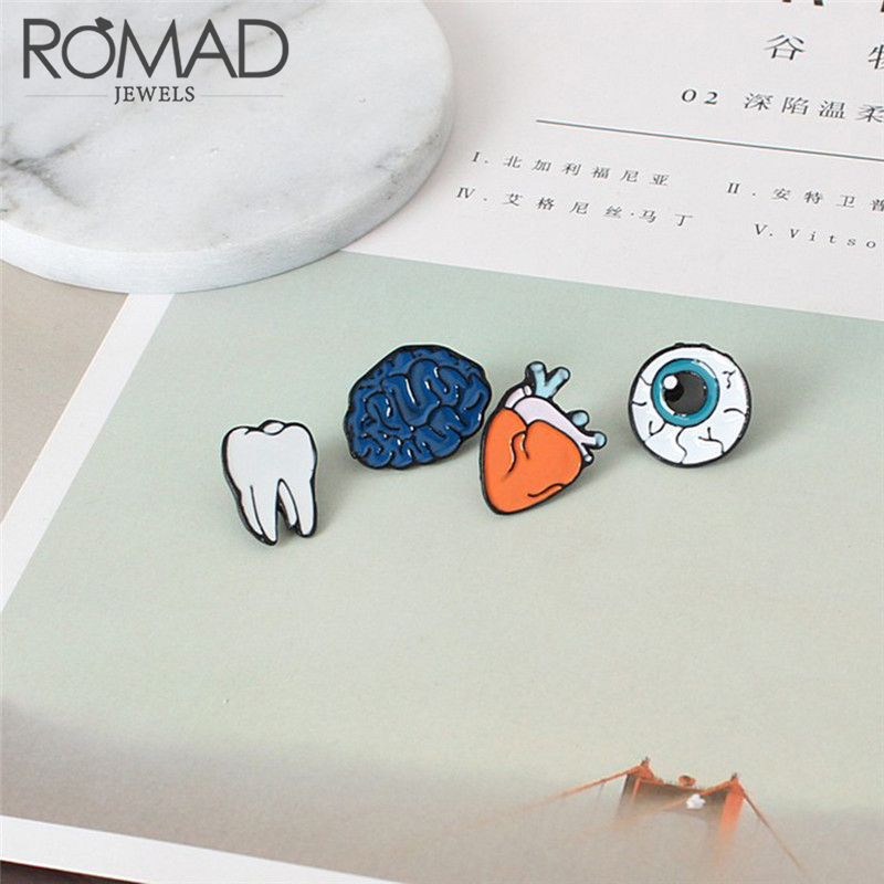 Romad Human Organs Brooch Pins Medical Brain Eye Heart Enamel Lapel Cartoon Pins Badge for Women Girls Clothing Bag Decor Z4