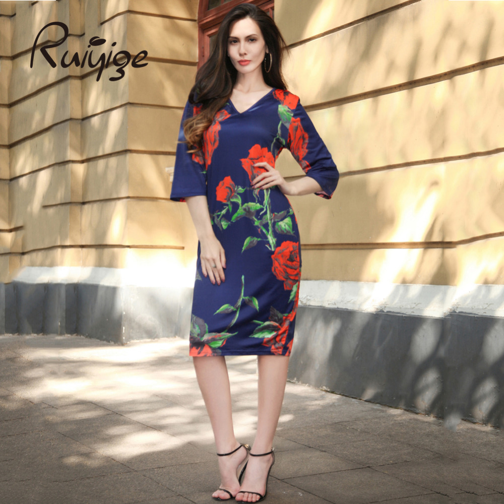 Buy Cheap RUIYIGE 2017 Summer Vintage Rose Print Dress Sexy V-neck Women Summer Dress Vestidos Bodycon Slim Pencil Dress Plus Size Dresses