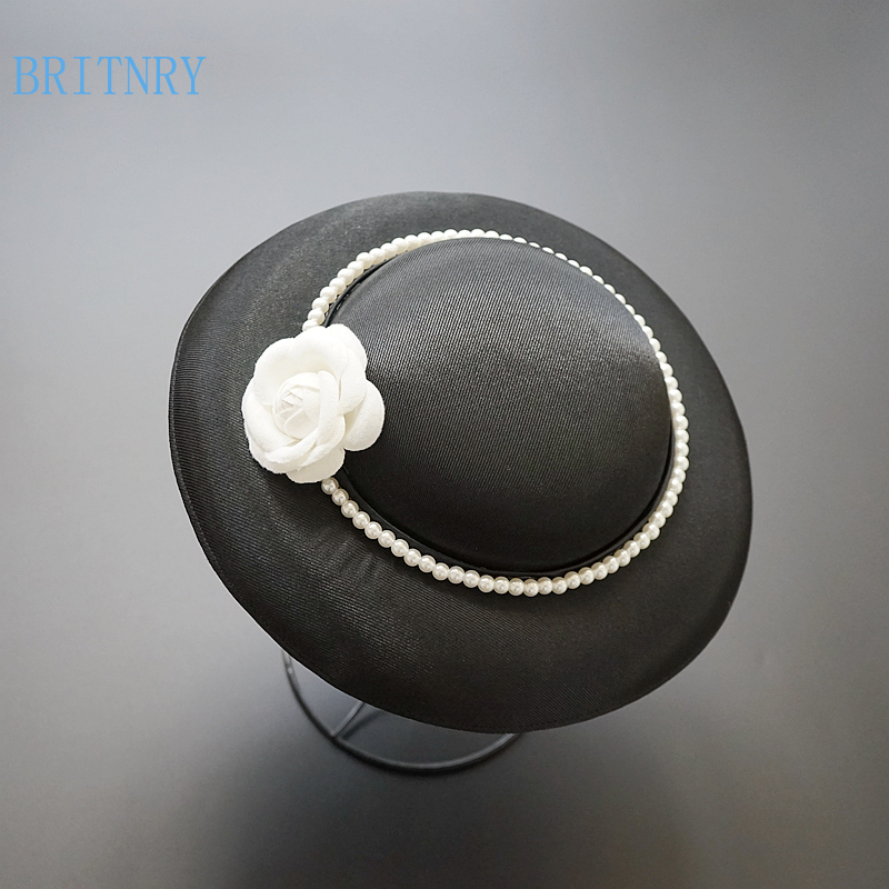 BRITNRY Vintage Black Wedding Hat Pearls with Flowers Fascinators for Women Elegant High Quality Bridal Hat
