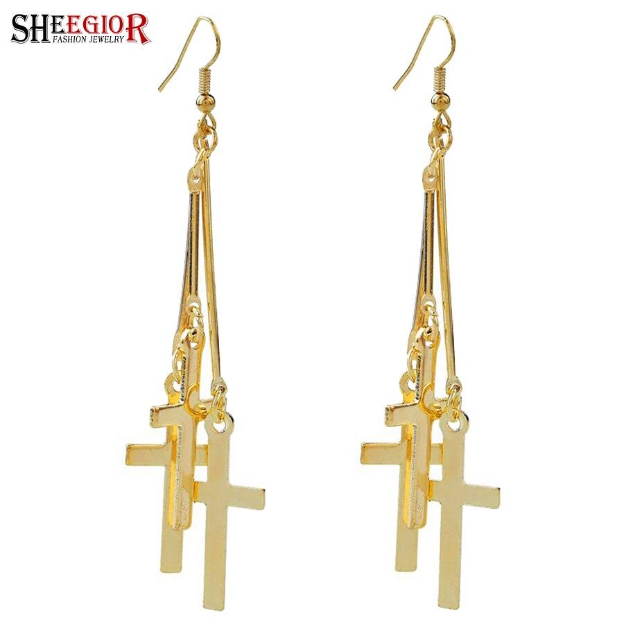 SHEEGIOR Boho Ethnic Gold Silver Cross Drop Earrings for Women Fashion Jewelry Long Tassel Rhinestone Earrings Bijoux Femme Gift