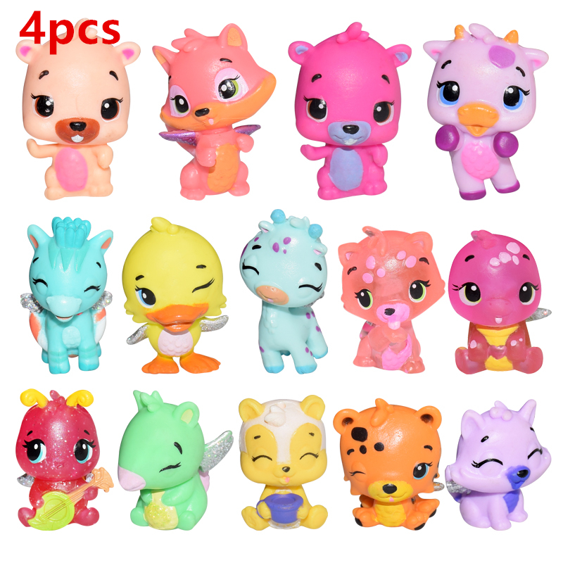4 Pcs/set Cute Cartoon Animal Model Dolls With Wings Shining Magical Surprise Dolls Baby Children Toys Kids Christmas Gifts
