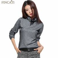 Women S Autumn Winter Fluffy Cashmere Blend Sweater Pile Heap Collar Long Sleeve Knitted Pullovers Pulls