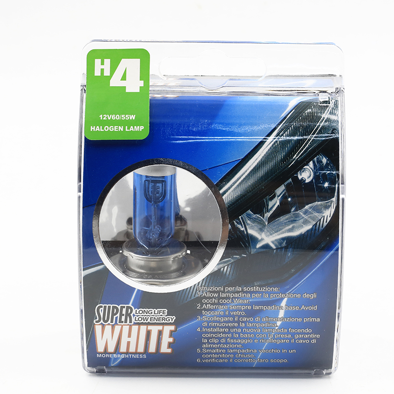 H4 55W 12V Halogen Bulb Super Xenon White Fog Lights High Power Car Headlight Lamp Car Light Source parking auto Free shipping dls flatbox slim mini