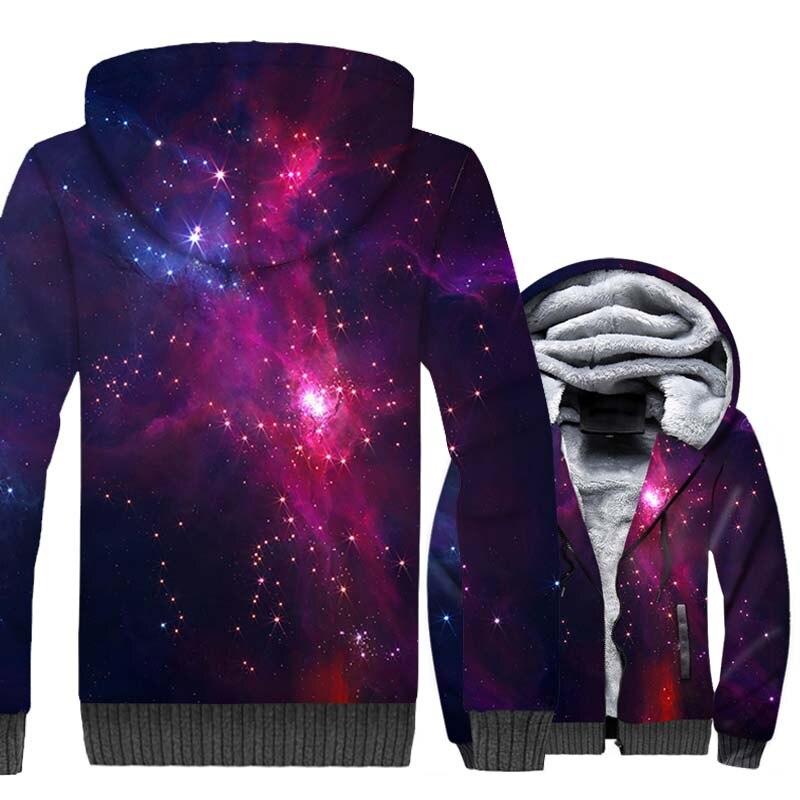 Marque vêtements 2018 hiver épais hommes Hoodies 3D espace Galaxy imprimer Sweatshirts Harajuku Unsiex étoiles nébuleuse veste à glissière mâle