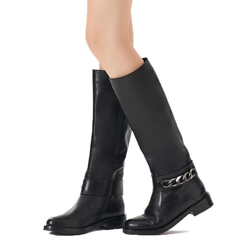 BASSIRIANA Yeni 2017 klasik hakiki deri kış yüksek çizmeler ayakkabı kadın süet zip yuvarlak ayak yün zinciri ile siyah 36 -40 boyutu