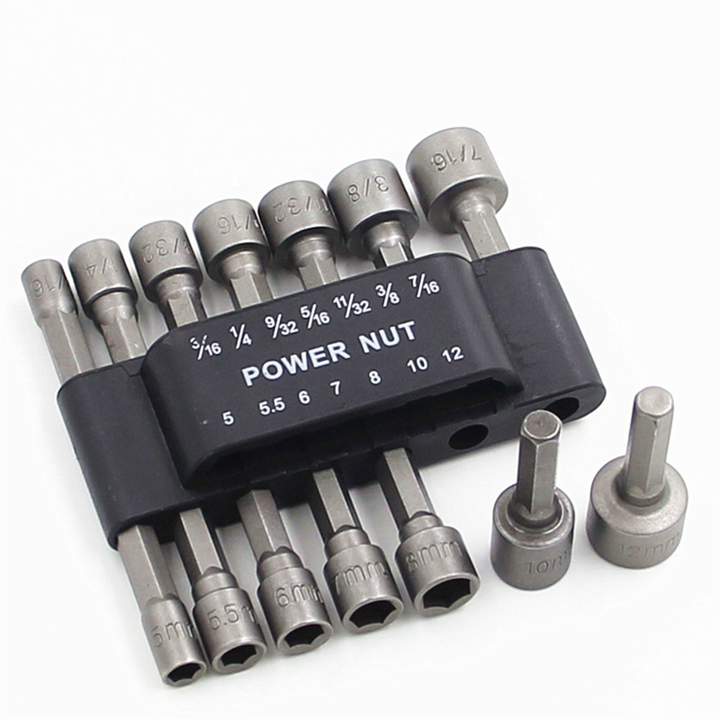 14pcs 1/4 Inch Hex Shank Quick-change Screwdrivers Nutdriver Power Nut Driver Drill Bit Sae Metric Socket Bits Wrench ScrewD4109
