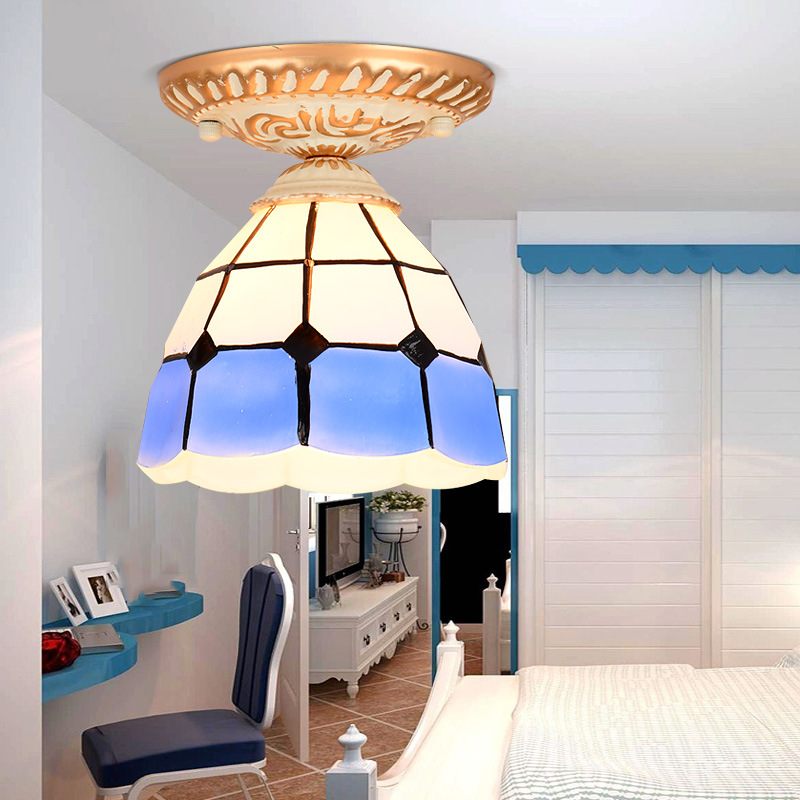 Tiffany Style Dia. 20cm Round Stained Glass Iron LED E27 Ceiling Lights Mediterranean Lamp for Bedroom Aisle Balcony Corridor