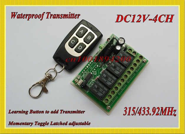 12V DC 4CH Relay 1 Receiver & 1 Transmitter  RF Wireless remote control Switch Momentary Toggle Latched Waterproof Transmitter mini remote control switch system micro dc3v 5v 2a relay 2 receiver transmitter momentary toggle latched learn 315 433