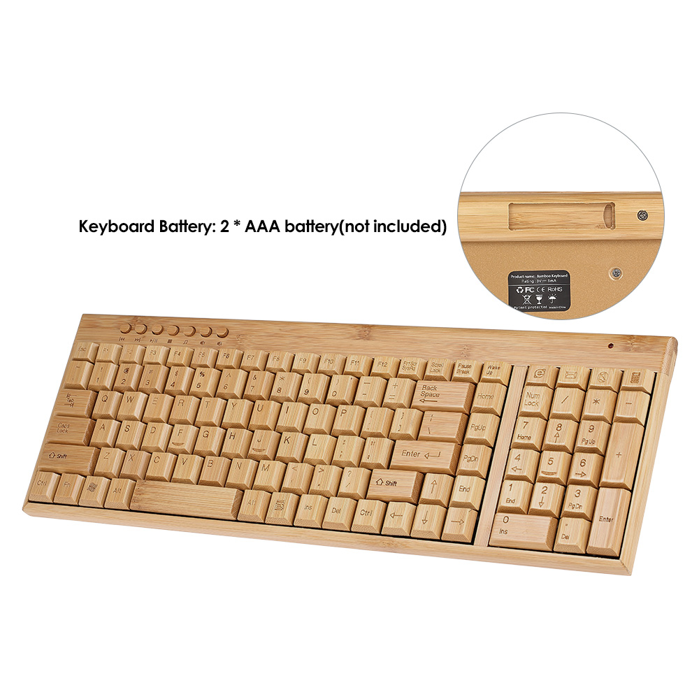 Handcrafted 2.4G Wireless Natural Bamboo Wood PC Keyboard & Mouse Set Computer Keyboard Plug and Play office home 28