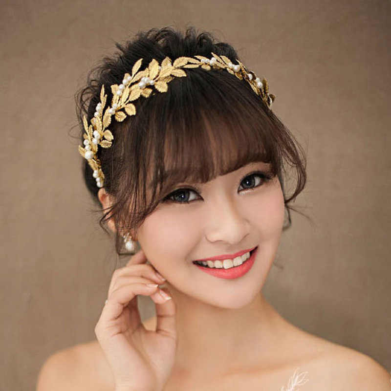 8a5a7d31 Baroque Gold Leaves Crown Headband Tiara Hairband with Pearl Wedding Hair  Accessories Women Bridal Hair Ornaments
