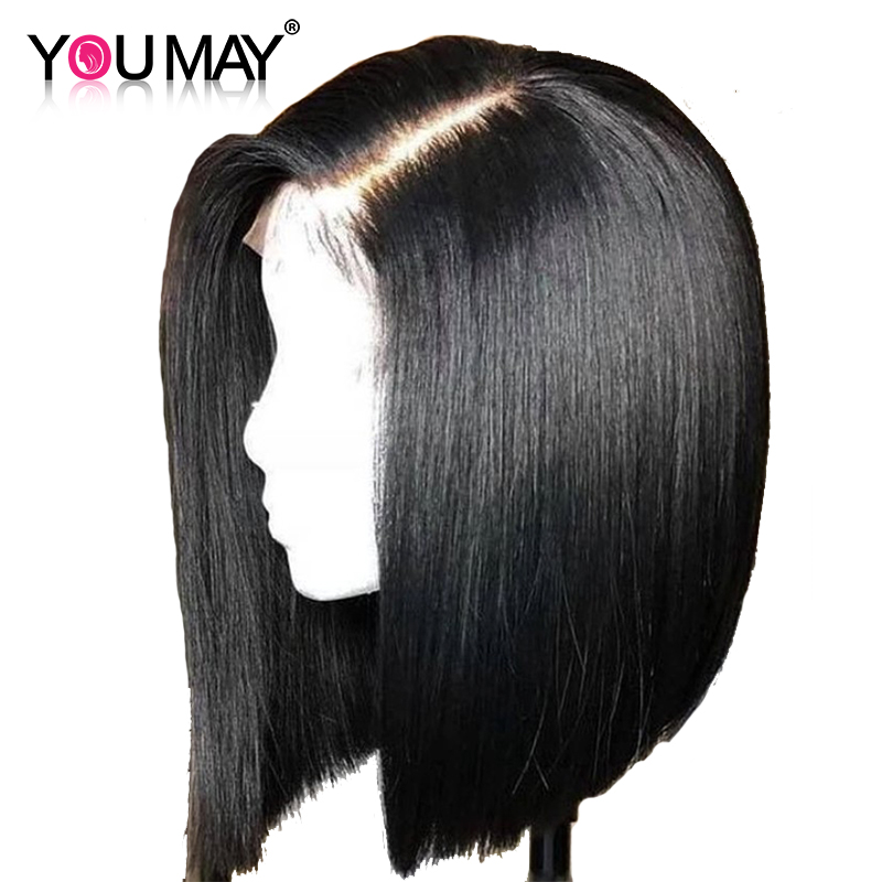 Short Human Hair Wigs Straight Bob Wig For Women 360 Lace Frontal Wig Pre Plucked With