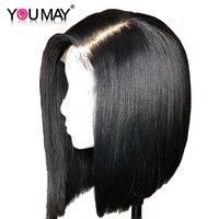 Короткие парики человеческих волос прямой боб парик для Для женщин 360 Кружева Фронтальная парик предварительно сорвал с ребенком волос нат