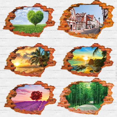 """tree lined trail 3D sticker Wall Sticker 60*90CM/23.62""""*35.43in quarto poster Bedroom house mural wall decals  Home Decor"""