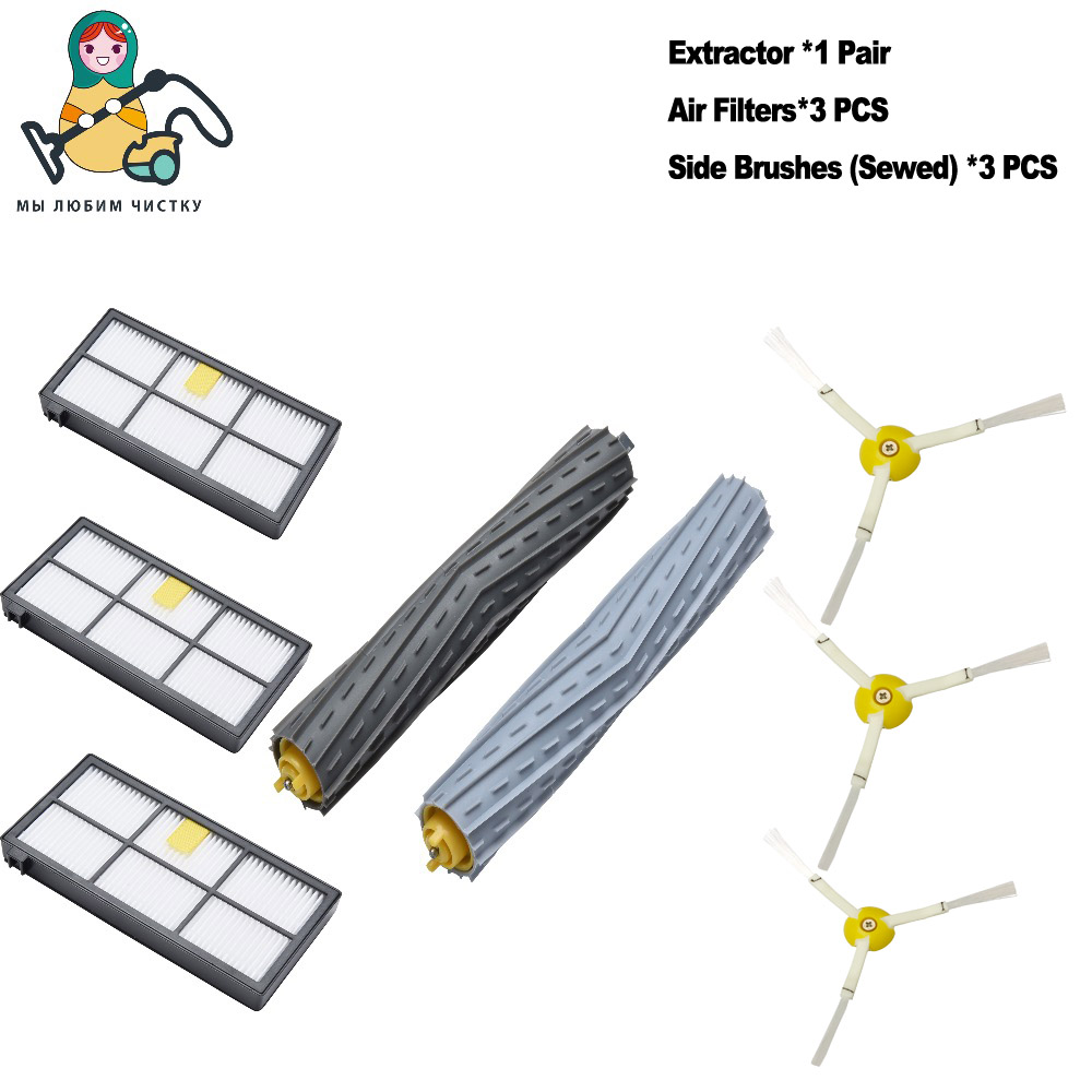 8-PACK CLEAN DOLL Extractor HEPA Filter Side Brush For iRobot Roomba 800 870 880 890 960 980 spare parts accessories ntnt free post new for irobot roomba 800 series filter 870 880 3 pack filter 3 pack side brush