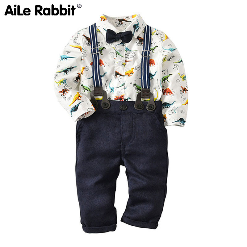 AiLe Rabbit 2018 clothes suit the European baby boy dinosaur clothing overalls tie gentleman three piece suit 0 3 years