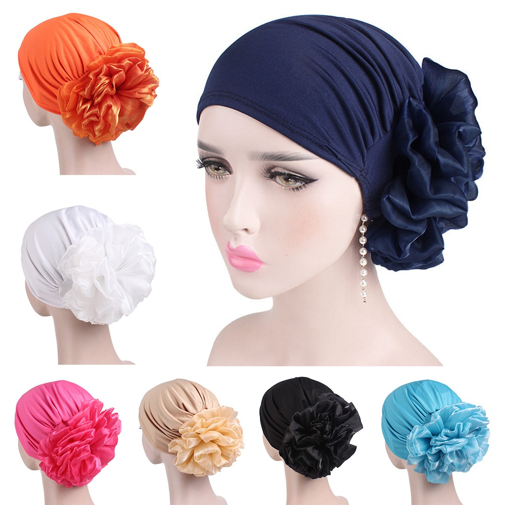 2018 New Women Floral Lace Turban Hat India Cap Muslim Hats Hairnet Chemo Cap Flower Bonnet   Beanie   for Women 1PC