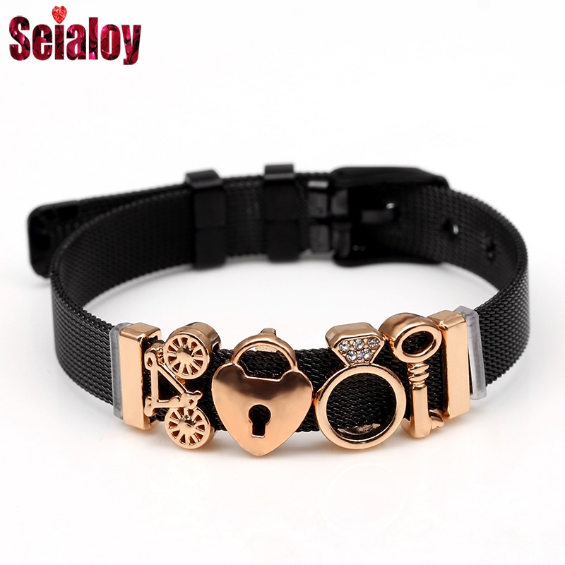 SEIALOY Black Stainless Steel Mesh Watch Bracelets For Women Men Golden Double Heart Bears Charms Brands Bracelet Bangles Gifts in Charm Bracelets from Jewelry Accessories