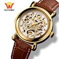 Мужские механические часы Ouyawei  роскошные часы золотого цвета с кожаным ремешком