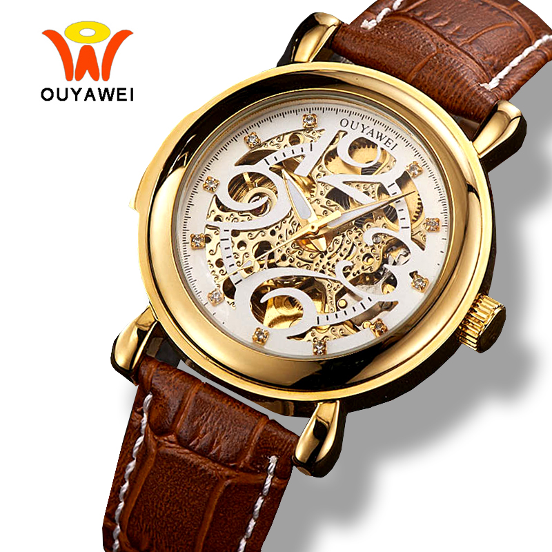 Ouyawei 2017 Luxury Skeleton Gold Mechanical Watches Men Automatic Self Wind Genuine Coffee Leather Band Big Arabic Wrist Watch original binger mans automatic mechanical wrist watch date display watch self wind steel with gold wheel watches new luxury