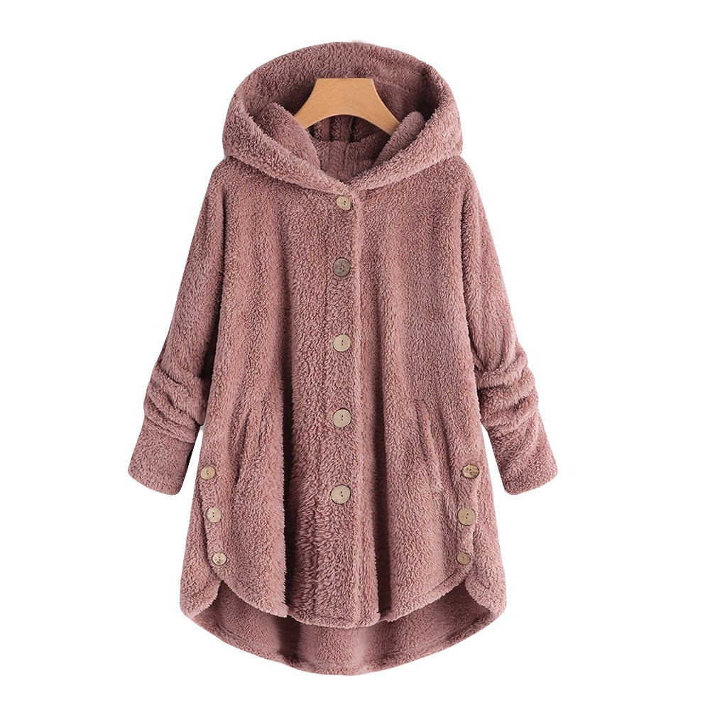 Fashion Women Button Coat Fluffy Tail Tops Hooded Pullover abrigo mujer Loose Sweater Button hooded plush inflatable coat