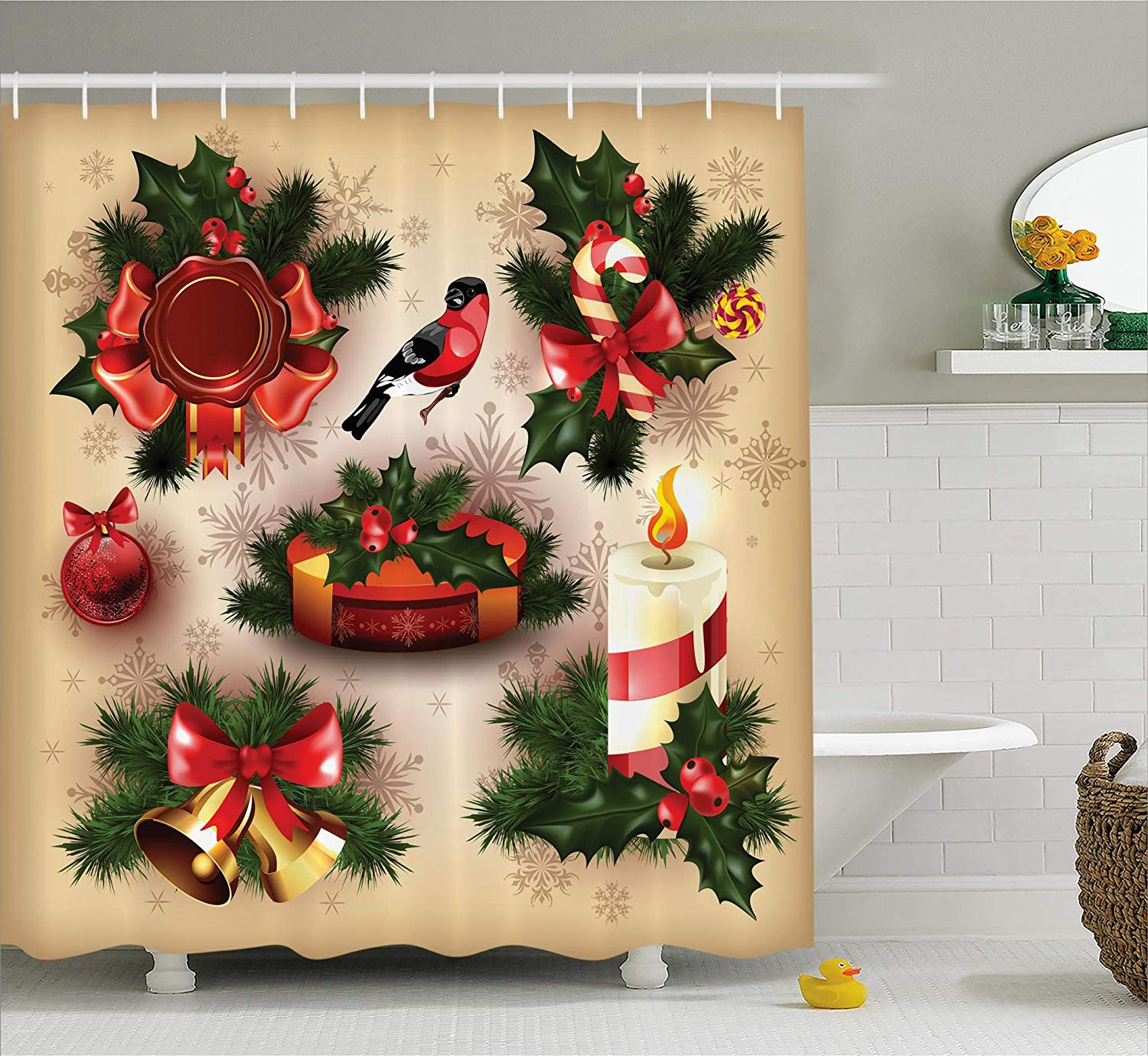 Us 16 06 36 Off Christmas Shower Curtain Retro Vintage Christmas Bathroom Sets Classical Religious Objects Candle Bell Mistletoe Ribbon Bird In