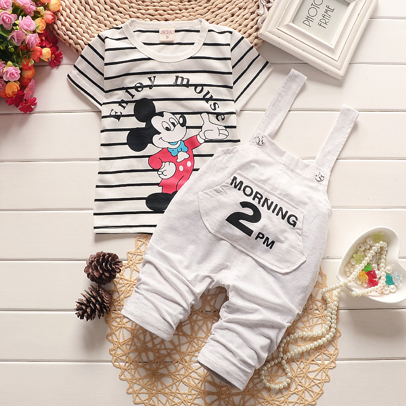2017 brand Summer Baby Girls Boys Clothes set Suits Infant Cotton Suits Casual mickey T Shirt+Straps Children Kids Suits 2T 3T 4