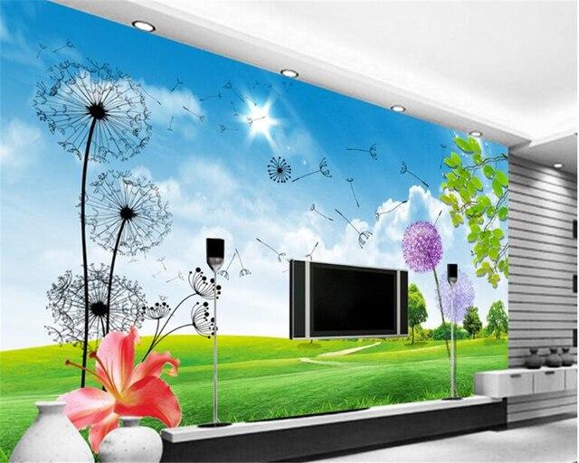 Beibehang Natürliche Innen Malerei Tapete Landschaft Lage Frischer Sky  Grassy Outdoor TV Hintergrund Wand Papel De