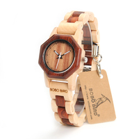 BOBO BIRD Octagon Ladies Wooden Watches LM25 Top Brand Luxury Hours Women Kol in Gift Box as Valentine's Day Gift
