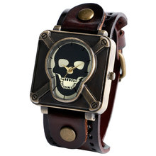 2016 New Fashion Skull Leather Bracelet Men Casual Trendy Quartz Wrist Watch Free Shipping Cool Gothic Style