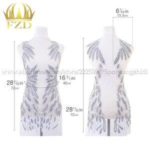 Image 5 - Fzd 1 セットて bodices パッチスパンコール縫製ラインストーンアップリケビーズ結婚式のイブニングドレスの鉄のためのパッチの服