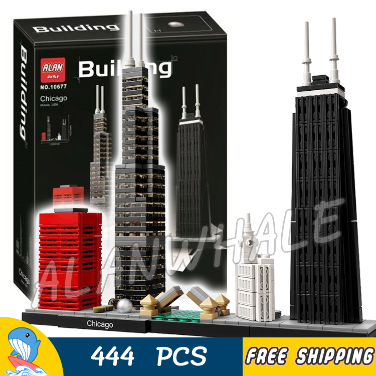 444pcs Architecture Chicago Skyline Willis Tower Model Building Blocks 10677 Assemble Children Toys Bricks Compatible With Lego