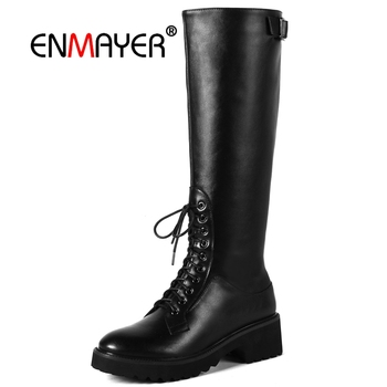 ENMAYER Woman Over The Knee High boots Winter Causal Round toe Slip on Stretch thigh High boots Wedges Black Elastic band CR1559