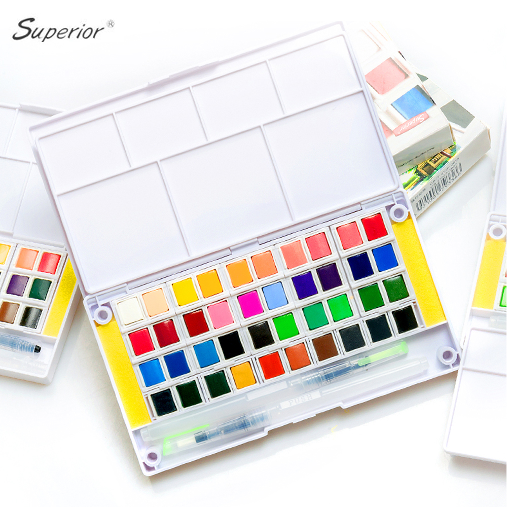 48 Colors Professional Solid Watercolor Paint Set Superior Pigment Paints With Paintbrush For Kids Students Drawing