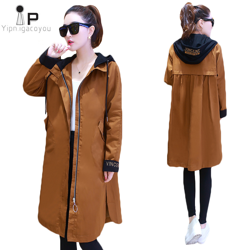 2019 New Autumn Women Long   Trench   Coats Plus Size Letter Embroidery Windbreaker Street Ms Fashion Hooded Baseball Casual Outwear