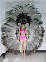 feather clothes feather headdress backpack bra pants bikini dance shows Carnival black peacock feather costume for female