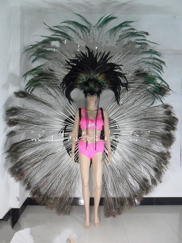 Feather clothes feather headdress backpack bra pants bikini dance shows Carnival black peacock feather costume for female фото