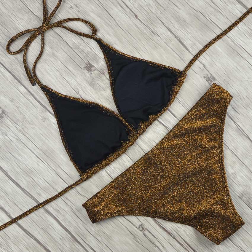 88ef00f709526 2018 New Women Bikinis High Neck Push up Bikini Set Geometry Black Swimwear  Female Slim Print Swimsuit Biquini brazilian BeachUSD 7.97 piece