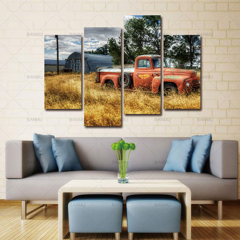 Wall Art Painting Pictures Print On Canvas Car In Red Trees And Dry Grasses In Field Car The Picture For Home Modern Decoration