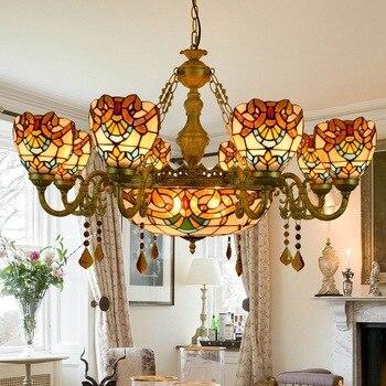 Europejska retro kolor szkła barokowy bar club wielu kryształ pilot zdalnego salon restauracja sypialnia 110-240 V wisiorek światła e27E26