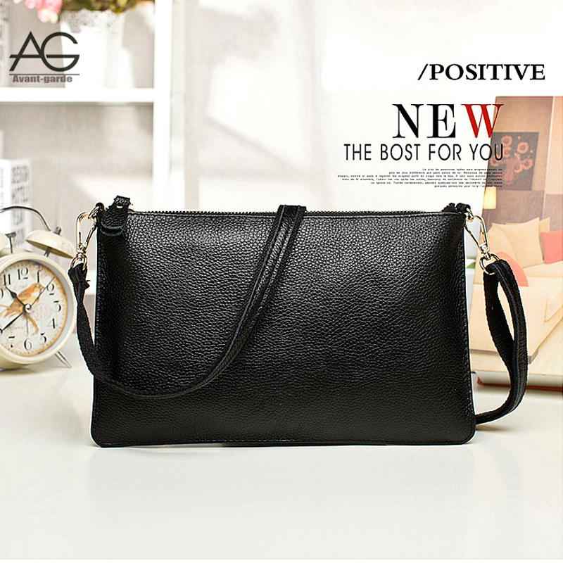 2016 New Design Fashion Black 100% Genuine Leather Women Messenger Bag Designer Casual Solid Brown Clutch Bags Bolsos Mujer