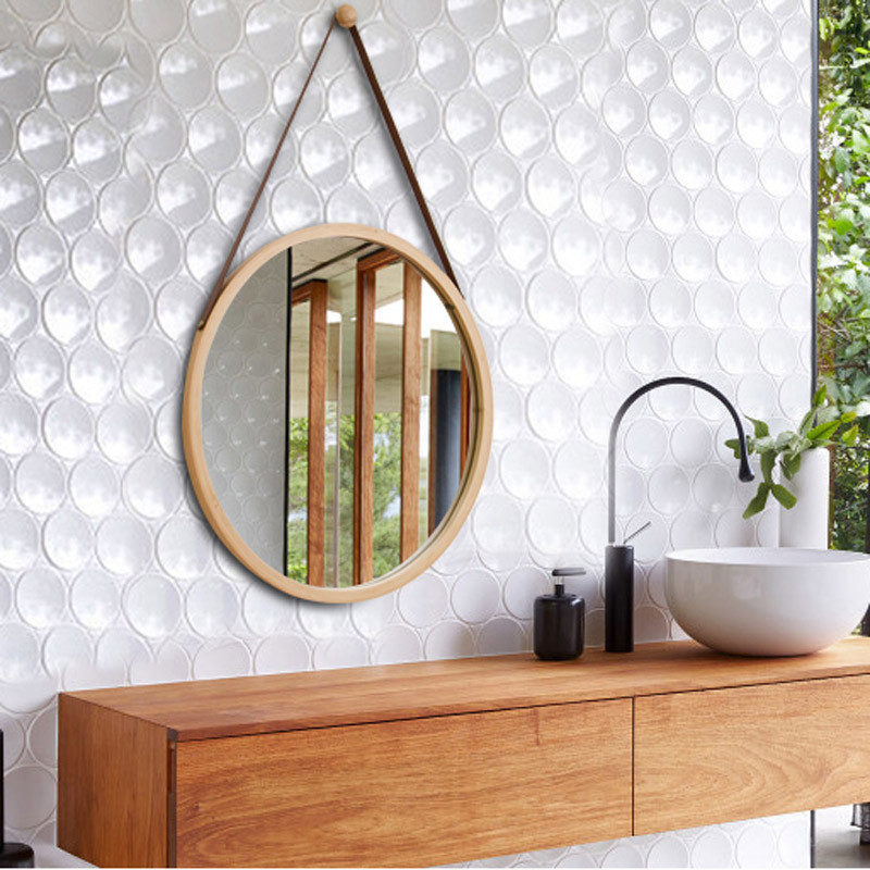 Innovative Art Deco Round Mirror Living Room Wall Hanging Bathroom Mirror Kitchen Mirror Rattan Dressing Wall