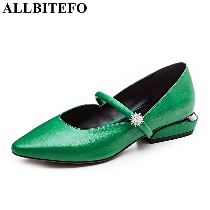 ALLBITEFO 2018 spring full genuine leather pointed toe low-heeled Dance shoes