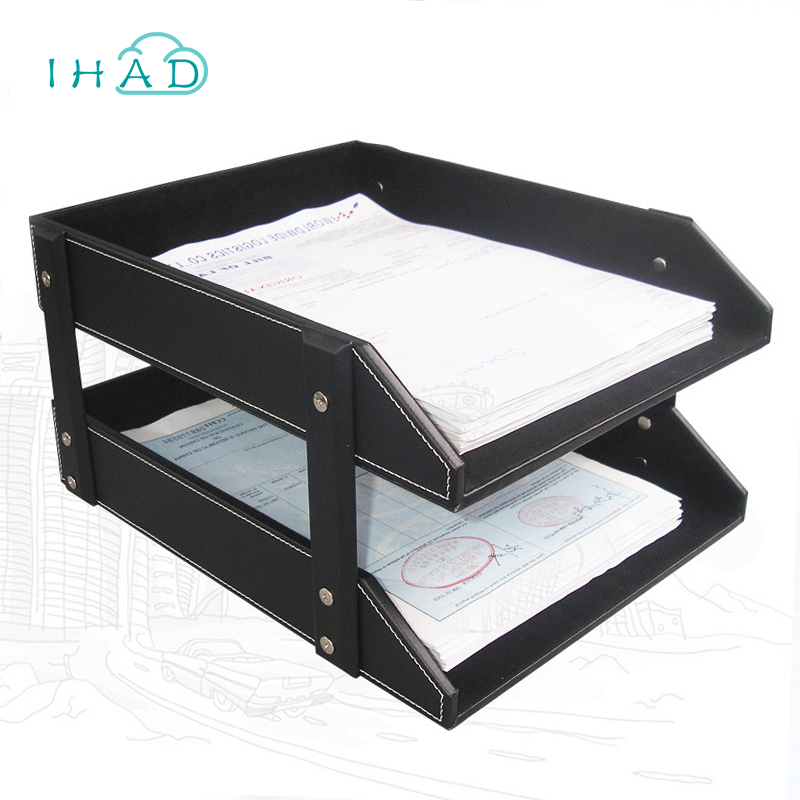 High Grade Pu Leather File Box Office Record Holder Desktop Cabinet Stationery Organizer Container Multi Functional Cask