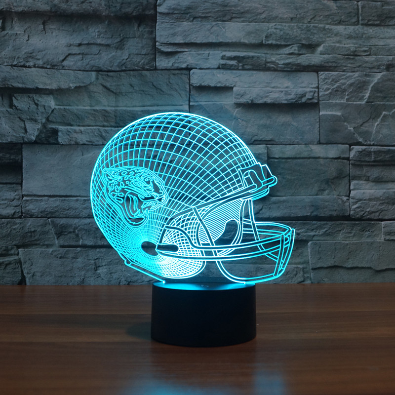 American football helmet model 3D led night light for Jacksonville Jaguars team