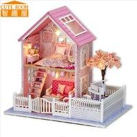 Comparar Montar casa de madera DIY Casa de juguete Miniatura casas de muñecas en Miniatura juguetes con muebles luces LED Regalo de Cumpleaños A036