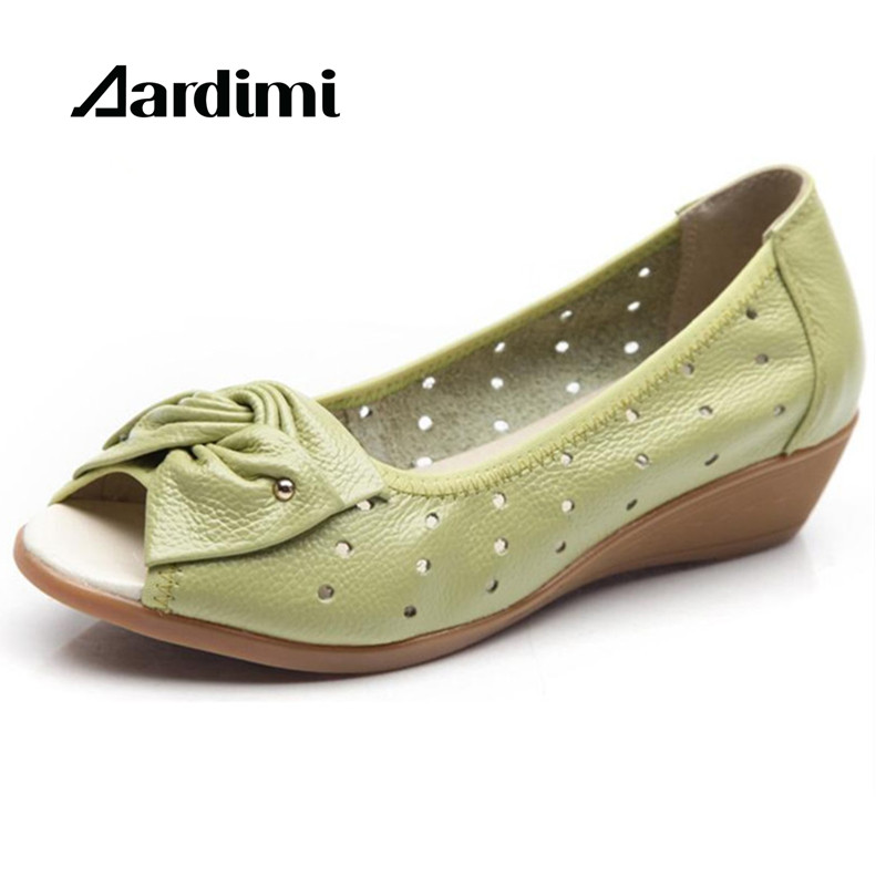 2018 New Spring Summer Wedges Sandals Women Bowtie Casual Women Shoes Genuine Leather Sandals Woman Fish Mouth Toe Big Size the new type of diamond mother sandals lady leather fish mouth flowers with leather high heeled shoes slippers women shoes