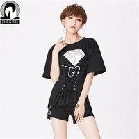 2017 Novas Mulheres Da Moda Tee T-shirt manga Morcego Mulheres sexy Personalidade pérola padrão de diamante cintura cinta senhoras manga curta Tshirt